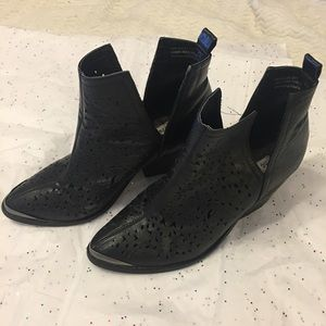 Black Cut Out Ankle Booties